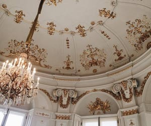 architecture, gold, and chandelier image