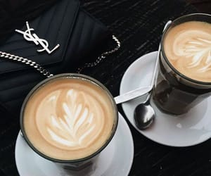 cappuccino, coffee art, and coffee cup image