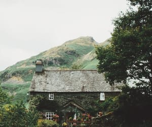 mountains, cottage, and green image