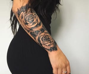rose, tattoo, and black image
