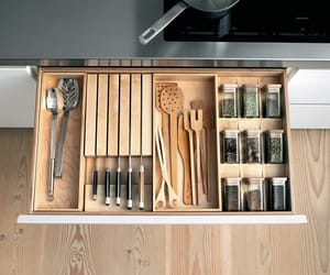 drawer, wood, and kitchen image