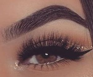 brown eyes, lashes, and brown shadow image