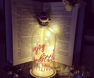 book, candle, and decor image