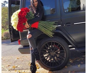 flowers, girl, and car image