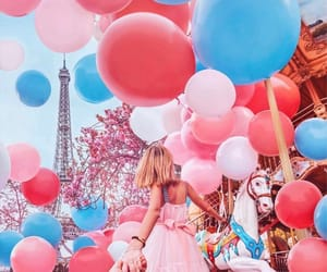 balloons, girl, and paris image