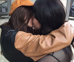 lesbian, girl, and kiss image