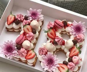 cake, 18, and flowers image