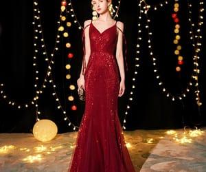 evening dress, girl, and glitter dress image