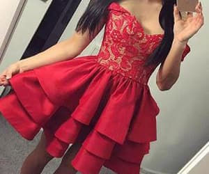 prom dress red, homecoming dress lace, and homecoming dress short image
