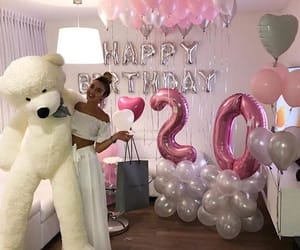 girl, birthday, and balloons image
