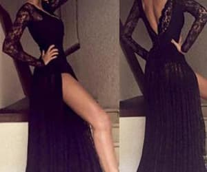 black evening dress, open back evening dress, and long sleeves prom dresses image