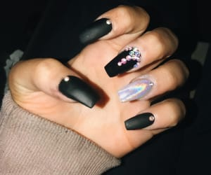 acrylic, black nails, and design image