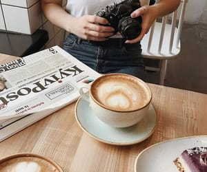 coffee, drinks, and newspaper image