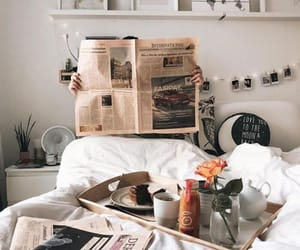 bed, food, and white image