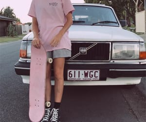 skateboard, aesthetic, and car image