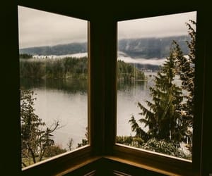 nature, lake, and window image