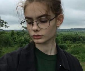 girl, beautiful, and glasses image