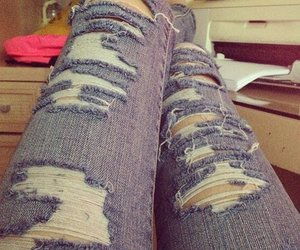 fashion, jeans, and riped jeans image