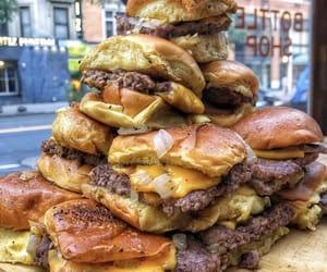 food, cheese, and hamburger image