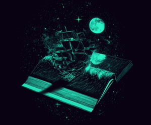 book, ship, and moon image