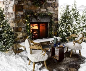 christmas light, Houses, and snowing image