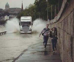 couple, rain, and run image