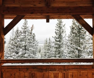 cabin, outdoors, and snow image
