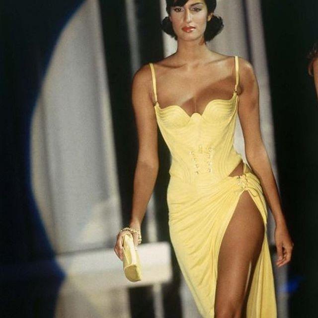 dress, yellow, and Versace image