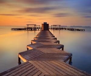 beach, sea, and sunrise image