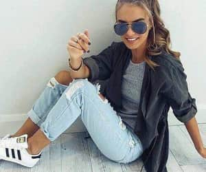 addidas, glasses, and jeans image