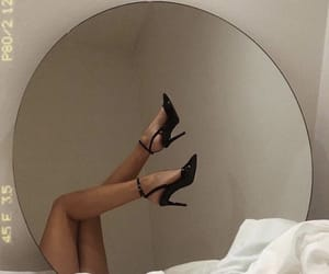 heels, shoes, and mirror image