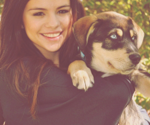 dog, girl, and selena gomez image