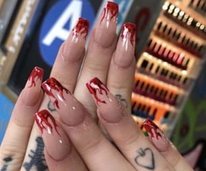 fire, nails, and tattoo image