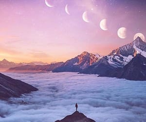 clouds, dreamy, and moon image