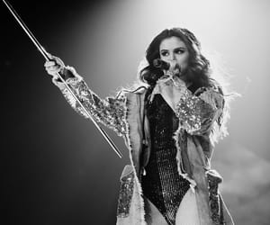 black and white, live performance, and selena gomez image