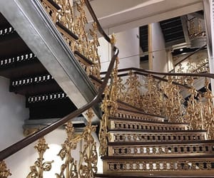 gold, house, and stairs image