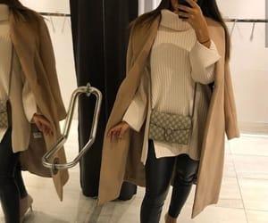 bag, long jacket, and mirror image