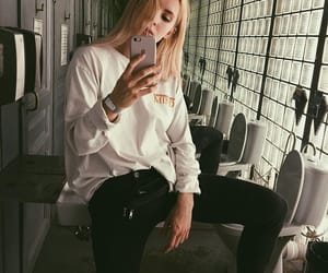bang, blond, and iphone image