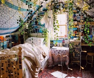 plants, bedroom, and boho image