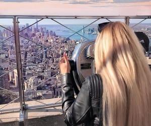 beauty, biker jacket, and blonde image