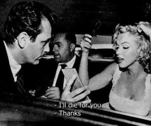 Marilyn Monroe, black and white, and quotes image