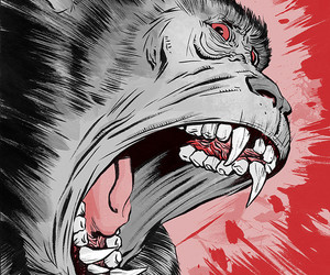 ape, drawing, and fangs image