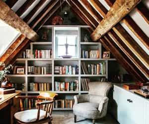armchair, attic, and books image