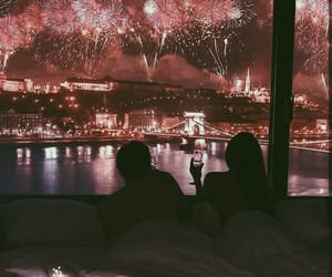 couple, love, and fireworks image
