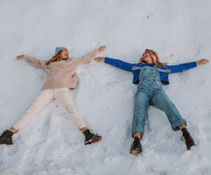 friendship, girls, and snow image