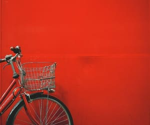 red, aesthetic, and bicycle image