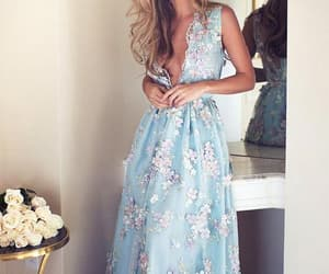 evening dress, lace prom dress, and prom dress blue image