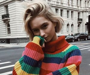 blonde, rainbow, and sweater image