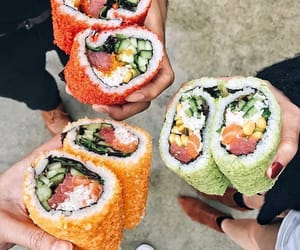fish, salmon, and sushi image