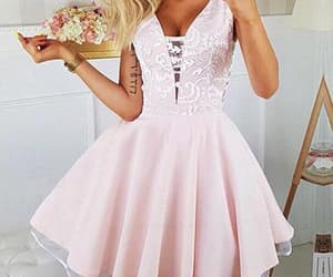 pink homecoming dresses, homecoming dresses a-line, and v-neck homecoming dresses image